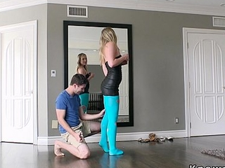 Blonde girlfriend in compress blue pantyhose fucks