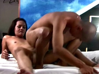 Chubby TS joy girl fucks lady's man in cowgirl reverse bareback