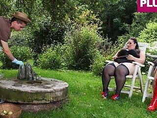 Submissive Gardener Handled by Yoke Sadistic Bitches