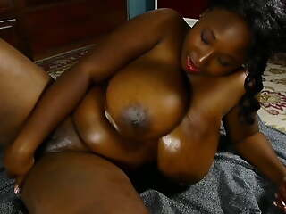 Busty black BBW beauty oils up her big tits & juicy pussy 4U