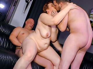 Of age SWINGER BBW Wife Cathrin Invites Young Guy For Threeway Sex