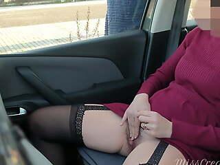 Dogging on every side my wife in public car parking lot, she jerks off voyeur