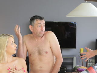 Excited dad tastes pussy of son\'s hot and sexy girlfriend