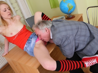 Old freak fucked youthful with an increment of sexy coed.
