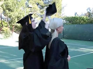 Grouchy graduating teens in a hot lesbian fuck