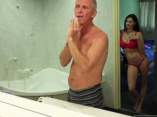 Old together with young hot spliced likes to get fucked by old man cock she is so horny